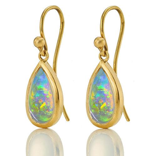1 Paar Ohrhänger in 750/- Gelbgold mit Opal