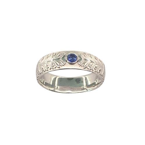 """Ring in 935/- Silber / rhodiniert """"Akanthus Ranke"""" mit Saphir"""
