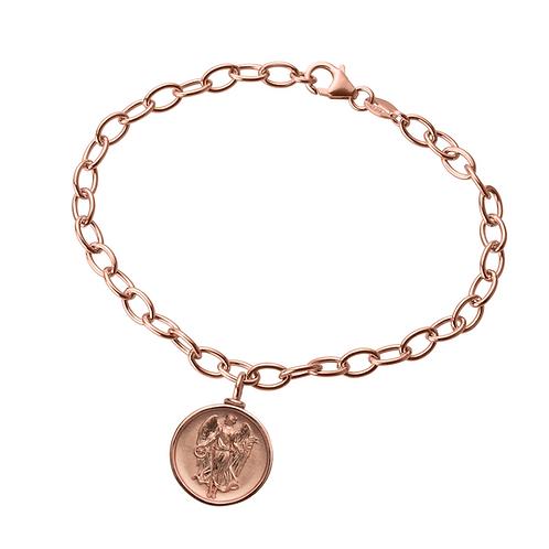 """Gliederarmband in 935/- Silber mit """"Schutzengel"""" Amulett Anhänger"""