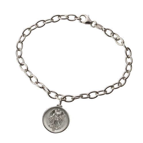 """Gliederarmband in 935er Silber/ rhodiniert mit """"Schutzengel"""" Amulett Anhänger"""