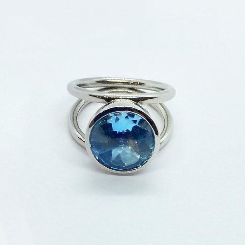 Ring mit Blautopas in 760er Weißgold/ rhodiniert, RW 52