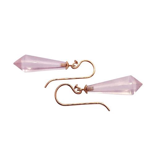 1 Paar Ohrhänger in 935/- Silber/ Rotgold vergoldet mit Rosenquarz