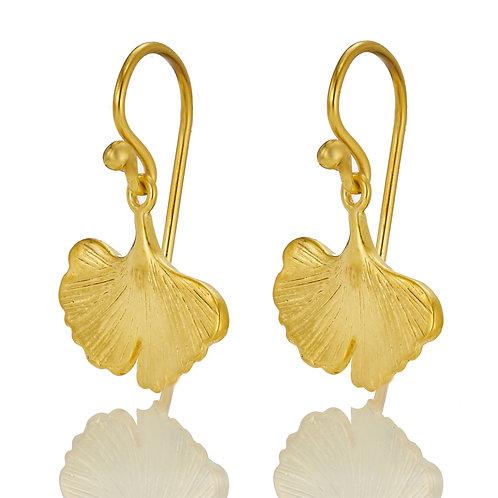 1 Paar Ohrhänger in 935/- Silber / vergoldet, Ginkgo-Blatt