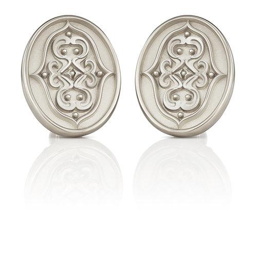 """1 Paar Ohrstecker in 935/- Silber/ rhodiniert """"gespiegeltes Ornament"""""""