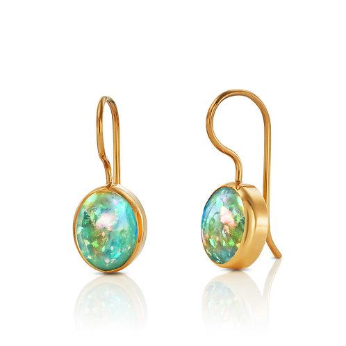 Ohrhänger mit Opal in 750er Gelbgold