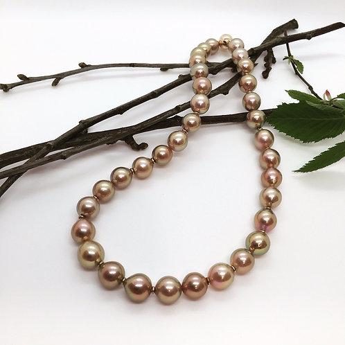 Ming - Perlen Collier mit 585er Rotgold Magnet - Kugelschließe