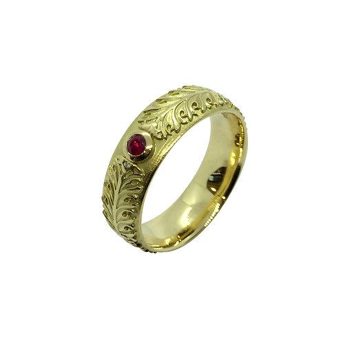 "Ring in 750/- Gelbgold ""Akanthus Ranke""mit Rubin"