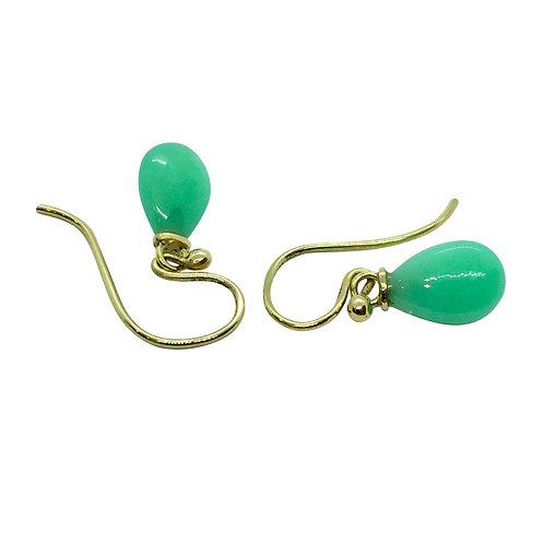 1 Paar Ohrhänger in 750/- Gelbgold mit Chrysopras