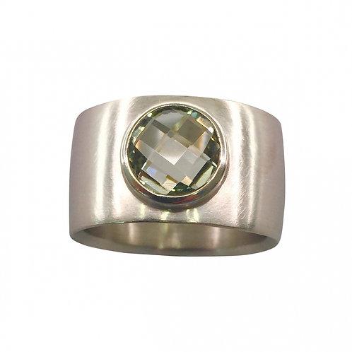 Ring in 935/- Silber/ rhodiniert mit Prasiolith, RW 54,5