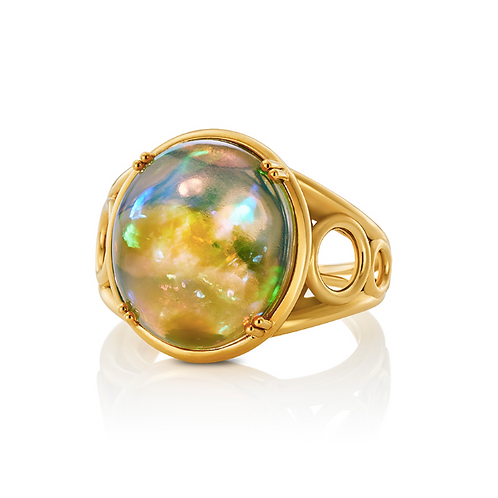 Ring mit Opal Cabochon in 750er Gelbgold, RW 56