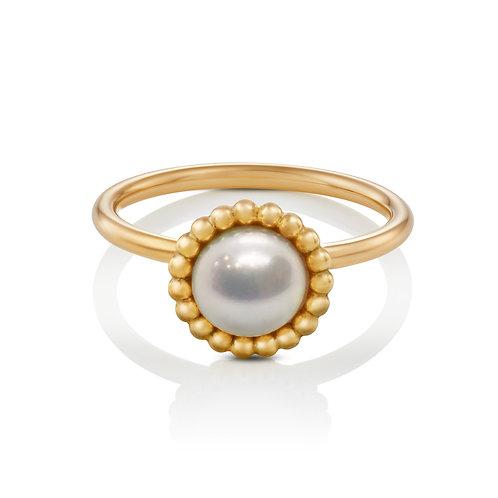 Ring in 585/- Gelbgold mit Biwa Zuchtperle, Gr.S