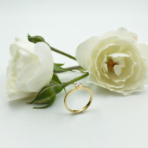 Verlobungsring in 750er Gelbgold mit Brillant, RW 52