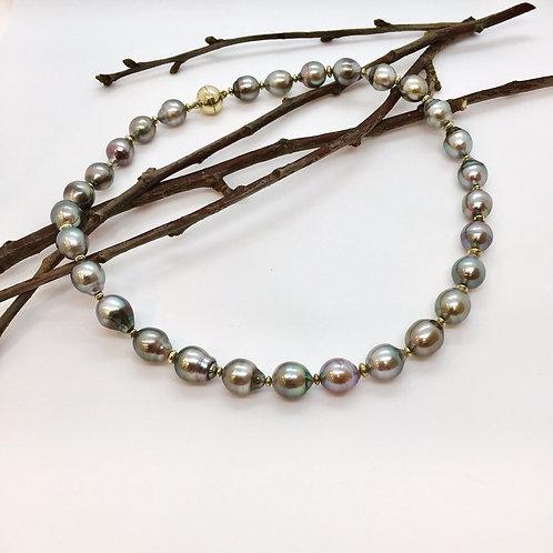 Tahiti - Perlen Collier mit 585er Gelbgold Magnet - Kugelschließe