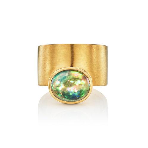 Ring mit Opal in 750er Gelbgold, RW 53,5
