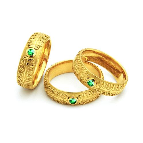"Ring mit Smaragd in 750/- Gelbgold ""Akanthus Ranke"""
