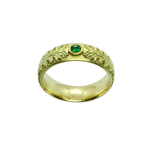 "Ring in 750/- Gelbgold ""Akanthus Ranke""mit Smaragd"