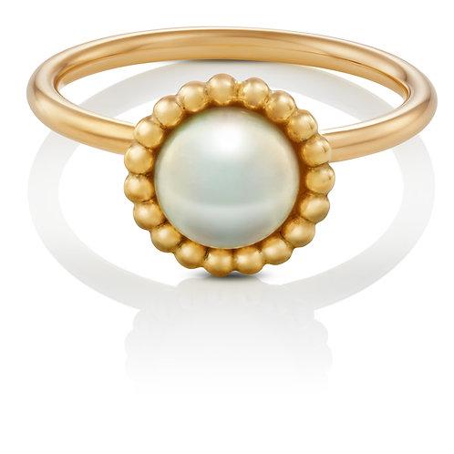 Ring in 585/- Gelbgold mit Biwa Zuchtperle