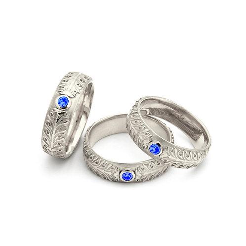 """Ring """"Akanthus Ranke"""" mit Saphir in 935er Silber/ rhodiniert"""