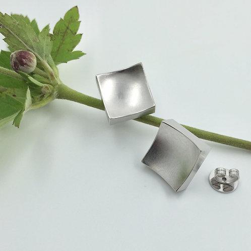 """Ohrstecker """"großes Quadrat""""  in 925er Silber/ rhodiniert"""
