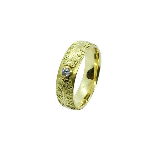 """Ring in 750/- Gelbgold """"Akanthus Ranke""""mit Brillant"""