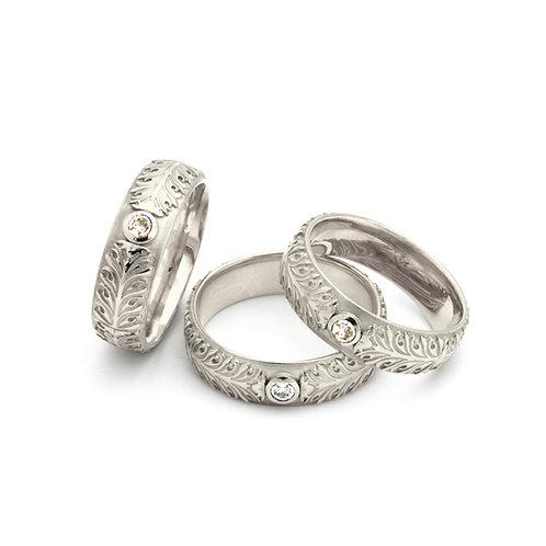 """Ring """"Akanthus Ranke"""" mit Brillant in 760er Weißgold/ rhodiniert"""