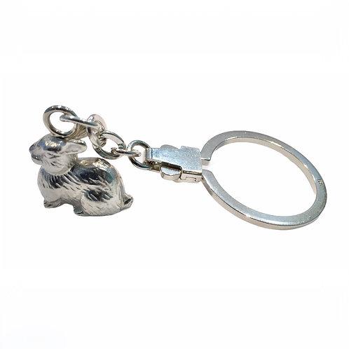"""Schlüsselanhänger """"Hase"""" in 925er Silber/ rhodiniert"""