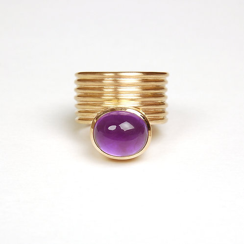 Ring mit Amethyst in 750er Rotgold, RW 55