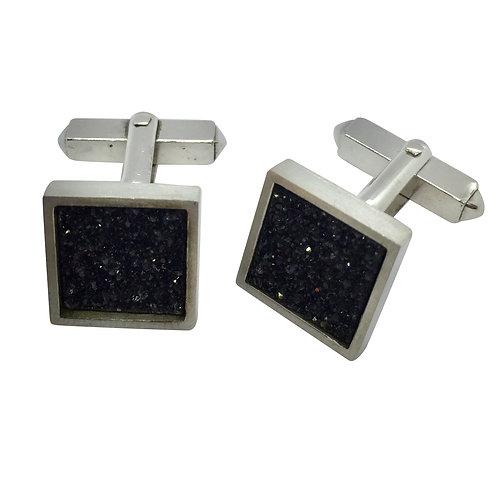 Manschettenknöpfe in 935/- Silber/ rhodiniert mit kristallinem Onyx