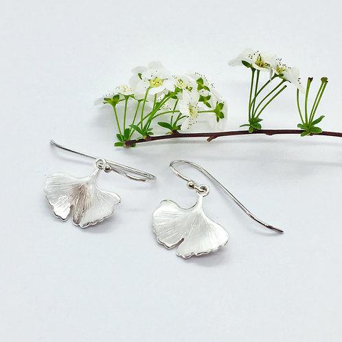 Ohrhänger Ginkgo-Blatt in 935er Silber/ rhodiniert