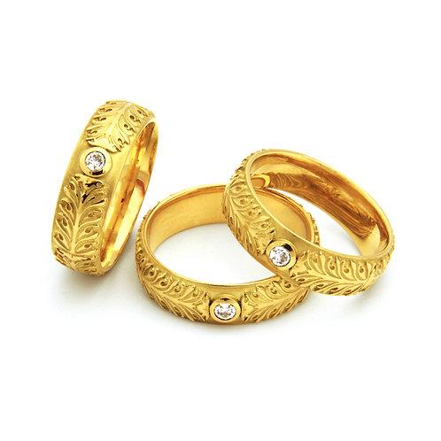 """Ring """"Akanthus Ranke"""" mit Brillant in 750er Gelbgold"""