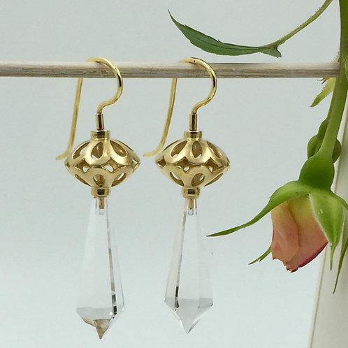 Ohrhänger mit Bergkristall Pampeln in 925er Silber mit Gelbgold Plattierung