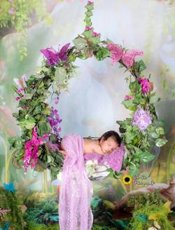 newborn baby girl in fairy swing, newborn girl photoshoot, newborn baby photographer, on s