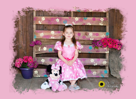 "Our new ""Flower Power"" scene modeled by Miss Minnie Mouse ""Payton"""