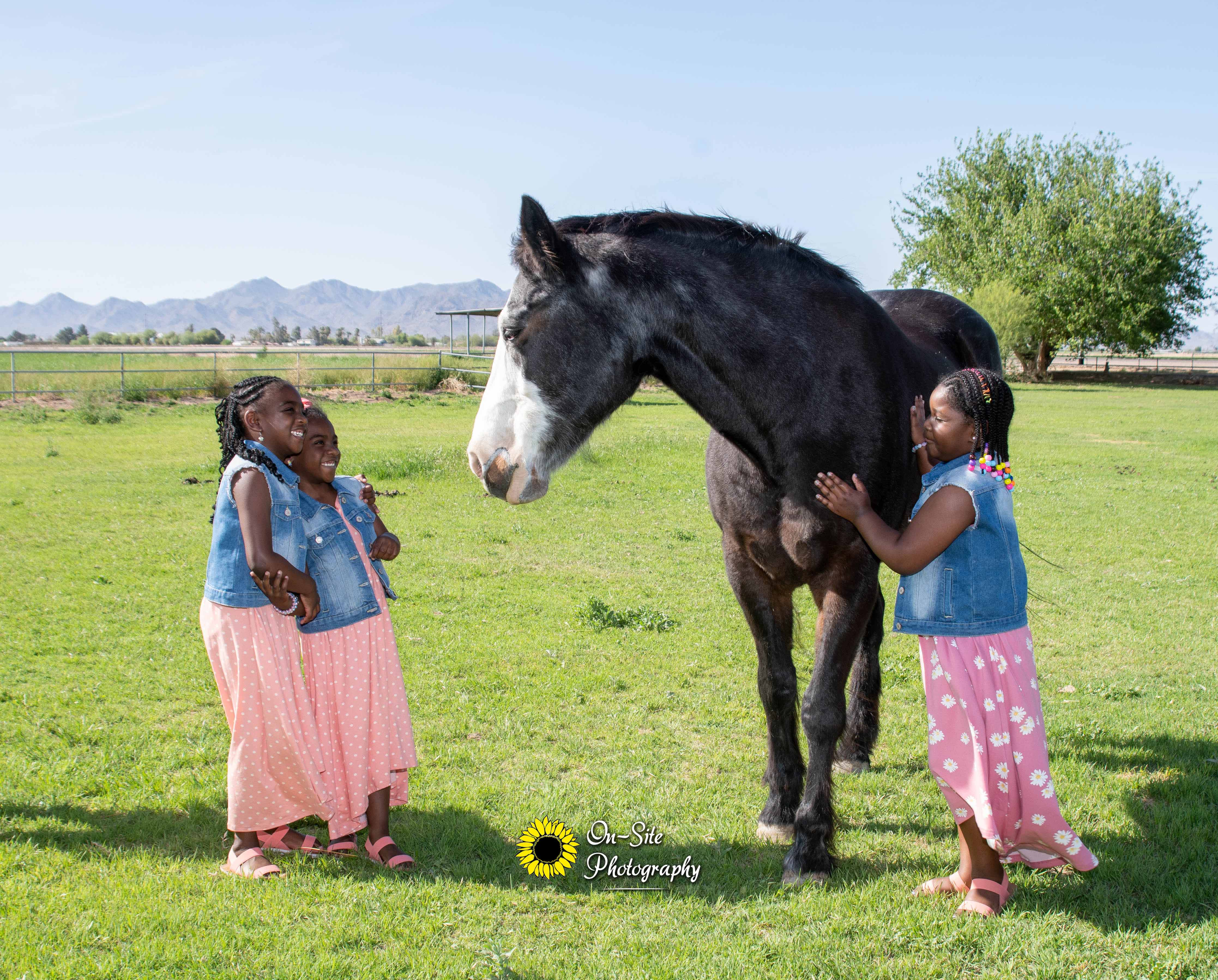 little girls with horse poses, children