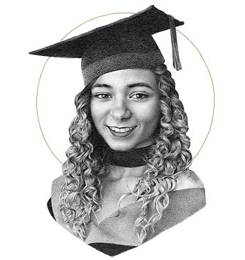 pencil portrait, graphite portraiture, photorealistic drawing, graduation art