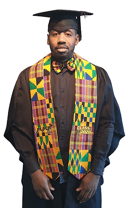 Orange Kente Graduation Stole with Embroidery
