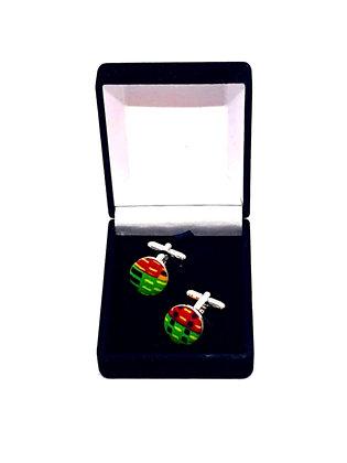 Green/Red Design Kente Cufflinks