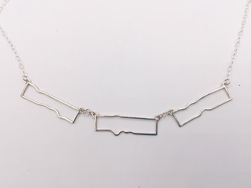 Three Piece Organic Rectangle Necklace