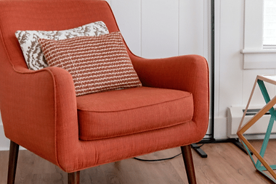Counselling space with orange chair