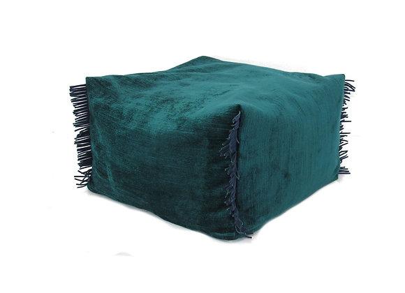 Le pouf à crête - bleu-vert
