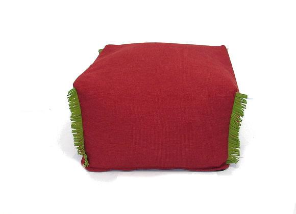 Le pouf à crête - rouge et vert