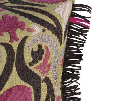 Le pouf à crête - motifs rose et brun