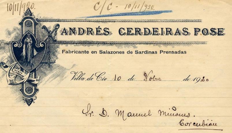 Factura de Salazones Cerdeiras en 1920