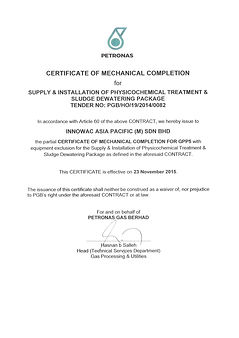 Certificate of Mechanical completion of