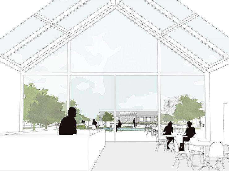Kevin Veenhuizen Architects / Eco Boerderij Breukelen / cafe met uitzicht over binnenplaats