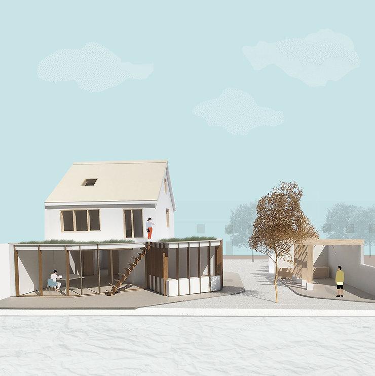 Kevin Veenhuizen Architects / Duurzame verbouwing en Aanbouw Uithoorn / Maquette achterkant