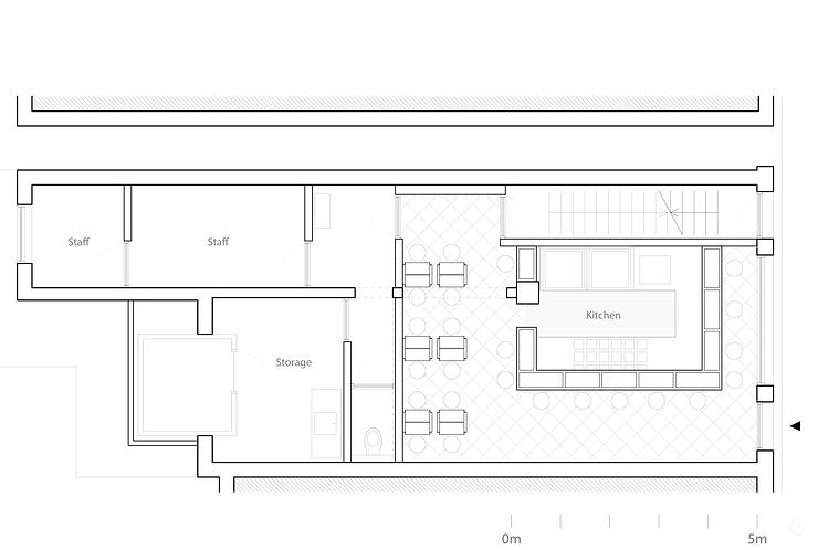 Kevin Veenhuizen Architects / burger bar Burgerlijk Amsterdam / plattegrond