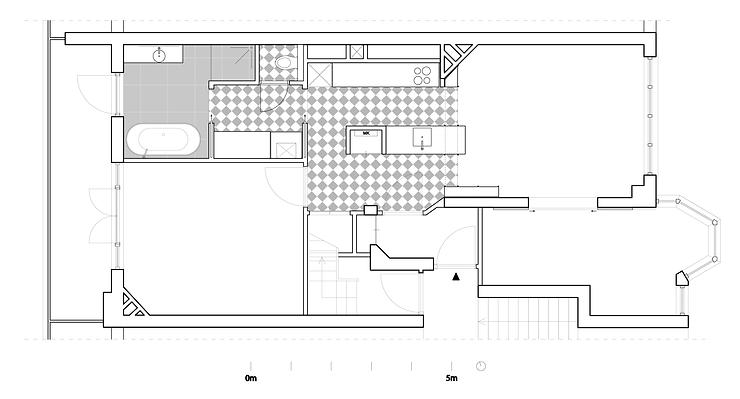 Kevin Veenhuizen Architects / verbouwing appartement Amsterdam / plattegrond