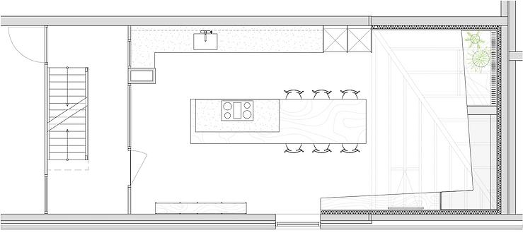 Kevin Veenhuizen Architects / vlinderdak aanbouw Amsterdam / plattegrond