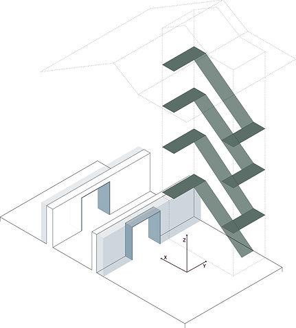 Kevin Veenhuizen Architects / verbouwing Carre van Bloemendaal / concept diagram circulatie